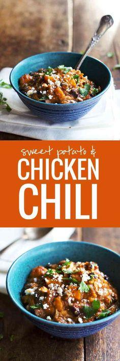 Healthy Jalapeño Sweet Potato Chicken Chili | pinchofyum.com