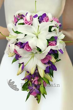 White Oriental Lily, Purple Orchid and Mauve Rose Trailing Bouquet