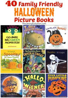 40 Family Friendly Halloween Books for Kids #halloween #kidlit Find more on www.thejennyevolution.com