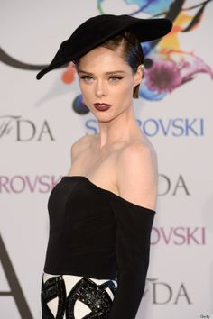 amazing winged eyeliner and red lips- simple yet stunning: Coco Rocha