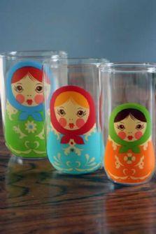 Nesting glasses with Matryoshka dolls!  Cute way to help Ella celebrate her heritage.
