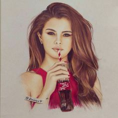 """Repost from @dimavys4 - Selena Gomez drawing ! """" You're the Spark"""". More work…"""