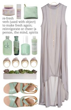 """""""Refreshing"""" by ctodtims ❤ liked on Polyvore featuring MTWTFSS Weekday, L'Autre Chose, Calvin Klein, Essie, Mario Badescu Skin Care, Maiyet and Korres"""