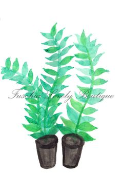 Two Pots Watercolor Print on Card Stock by fuschialovely on Etsy, $5.00
