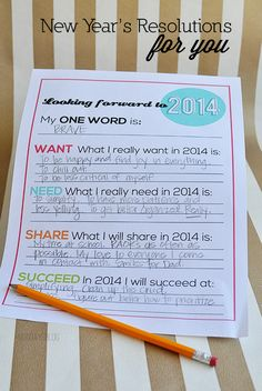 Printable New Year's Resolutions for You- a new take on an old tradition! Print out and set attainable goals for 2014. www.thirtyhandmadedays.com Filofax, New Years Eve Party, Activity Days, New Year Celebration, Holiday Fun, Festive, Winter Holidays, Setting Goals, Happy New Year