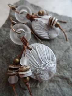 He Loves Me ... Polymer Clay Lampwork Ring Tassel by juliethelen