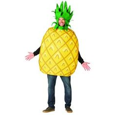 Pineapple Men's Adult Halloween Costume, One Size, Multicolor Easy Mens Halloween Costumes, Trendy Halloween, Cool Halloween Makeup, Easy Halloween Costumes, Adult Halloween, Halloween Ideas, Pineapple Costume Diy, Pineapple Halloween, Fruit Costumes