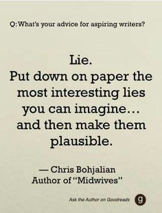 Advice from Chris Bohjalian, one of my favorite authors