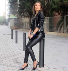 www.streetstylecity.blogspot.com Fashion inspired by the people in the street ootd look outfit sexy high heels legs woman girl leather pants trousers