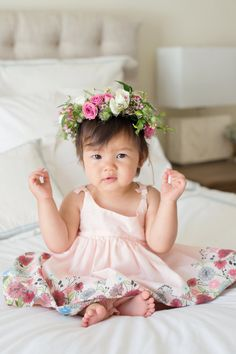 How cute is this little birthday girl? http://www.stylemepretty.com/living/2015/11/13/garden-party-first-birthday/ | Photography: Modern Kids - http://www.modernkids.com/