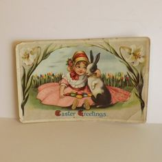 Antique Easter postcard little girl holding a by KerrysBungalow, $5.00
