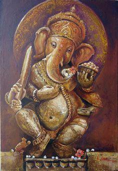 R ganesha Painting Ganesh Lord, Shri Ganesh, Ganesha Art, Krishna, Om Gam Ganapataye Namaha, Oil Painting Tips, Painting Art, Lord Ganesha Paintings, Indian Paintings