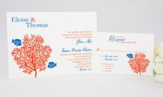 Coral Tropical Fish Wedding Invitation by Whimsicalprints on Etsy, $1.75
