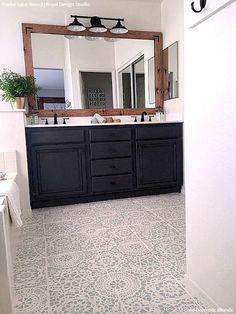 DIY Painted Bathroom Floor Stencils - Lace Design Stencils - Royal Design Studio 65 Most Popular Small Bathroom Remodel Ideas on a Budget in 2018 Diy Bathroom, Bathroom Renos, Home, Painted Bathroom Floors, Bathroom Remodel Master, Modern Farmhouse Bathroom, Bathroom Flooring, Bathroom Design, Bathroom Renovation