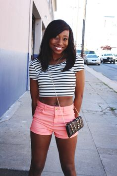 Andrea rocking black and white stripes crop top and coral shorts!