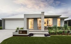 the Portman - Contemporary elevation with tiled feature pier, rendered façade and Colorbond roof (Tile Porch Step) Modern House Plans, Modern House Design, Style At Home, Modern Exterior, Exterior Design, Facade House, House Facades, House Elevation, Exterior House Colors