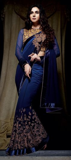 Blue color family Embroidered Sarees, Party Wear Sarees with matching unstitched blouse.