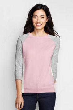 Women's 3/4-sleeve Supima Raglan Colorblock Sweater from Lands' End