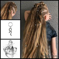Viking hairstyle with seven different braids and a hair ring with snake from the webshop www.goudhaartje.nl (worldwide shipping). Hairstyle inspired by: #lagertha from #vikings #lagerthahairstyle #hair #vlecht #vikingbraids #vikinghair #hairrings #snake #hairstyle #braid #braids #plait #trenza #peinando #прическа #pricheska #ヘアスタイル #髮型 #suomiletit #frisuren #fläta #beautifulhair #gorgeoushair #stunninghair #hairaccessories #hairinspo #braidideas #amazinghair #goudhaartje