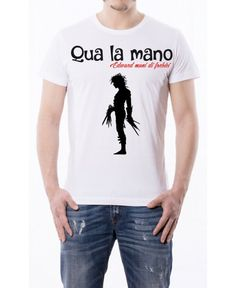 T-shirt Frase Qua la mano Edward Mani di Forbici