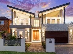 Diseño de fachada casa moderna dos pisos