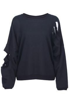Distressed Batwing T-shirt #romwe