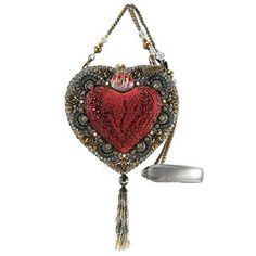Mary Frances Mi Corazon Heart Shaped Box Red Silver Beaded Handbag Purse Bag New  | eBay