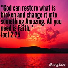 Joel 2:25~So I will restore unto you the years that the swarming locust has eaten...