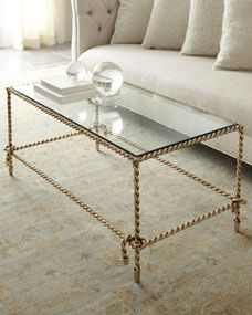 Chloe Coffee Table @ Horchow. needs a lower glass shelf and rope ends should be etched to look like tassels.
