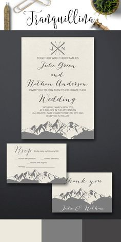 Winter wedding Invitations Printable, Mountain Wedding Invitation suite - pinned by pin4etsy.com