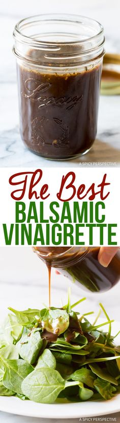 The Best Balsamic Vinaigrette Recipe - This tangy balsamic vinaigrette dressing will make your salads sparkle, and takes only 5 minutes to prepare! The Best Balsamic Vinaigrette Recipe Salad Dressing Recipes, Salad Recipes, Vinaigrette Dressing, Balsalmic Dressing, Green Salad Dressing, Avocado Recipes, Balsamic Vinaigrette Recipe, Balsamic Vinegarette, Best Balsamic Dressing Recipe