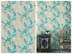 L'Essenziale Choice: 10 Bold And Beautiful Wallpapers - L' Essenziale / I am in love with Paisley pattern and I just couldn't skip this stunning interpretation of it. Very bright and vivid turquoise on rather soft and muted taupe background. It is perfect for adding your room and oriental twist: