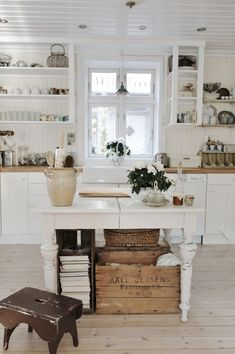 25 Best Farmhouse Kitchen Island with Open Shelves Furniture - Daily Home List Cottage Kitchens, Home Kitchens, Cottage Farmhouse, Farmhouse Decor, White Cottage, Farmhouse Style, Rustic Kitchens, Fresh Farmhouse, White Farmhouse