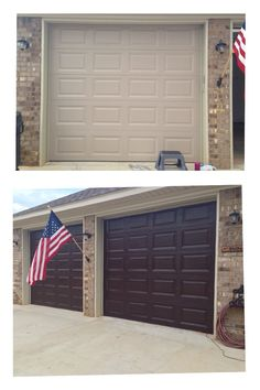 12 amazing outdoor diy projects garage doors diy garage door stained garage doors 2 quarts of minwax gel stain walnut 4 cheap foam brushes 2 coats 24 hrs apart finish with 1 coat polyurethane satin finish solutioingenieria Images