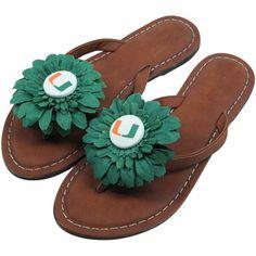 Miami Hurricanes Womens Daisy Flower Sandals - Brown