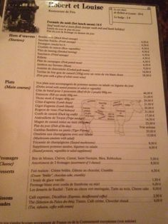 Le comptoir du relais paris france entrees menu - Le comptoir du relais restaurant menu ...