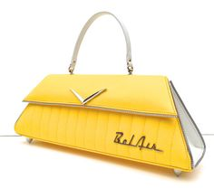 Bel Air Yellow & White with Tuck & Roll. Couture Vintage Car inspired Handbag. Made in the USA by RevampProductions, $400.00