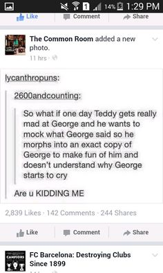 WHY WOULD YOU EVEN SUGGEST THING?! I refuse to accept this headcannon because I refuse to believe that Teddy would do this!