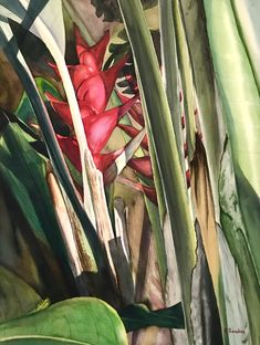 original watercolor by Colleen Sanchez. Can you find the little gecko? Seascape Paintings, Watercolour Painting, Fine Art, Landscape, The Originals, Abstract, Floral, Flowers, Summary
