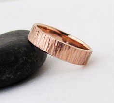 Rose Gold Wedding Band Men's Wedding Ring Rustic by GoldSmack