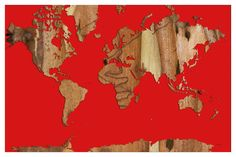 Prestige Art Studios Wood Bark World Map 1 by Marlene Watson Graphic Art #PrestigeArtStudios #Contemporary