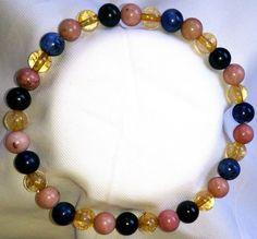 Sodalith Rhodochrosit Citrin Heilstein Perlen Armband
