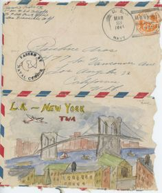 New York by TWA! - World War II vintage love letter original illustration on Etsy, $30.00
