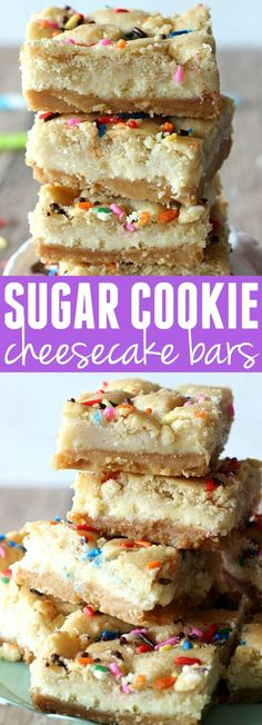 These Sugar Cookie Cheesecake Bars are the ultimate dessert! A layer of sugar co. These Sugar Cookie Cheesecake Bars are the ultimate dessert! Desserts Nutella, 13 Desserts, Delicious Desserts, Yummy Food, Plated Desserts, Dessert Crepes, Smores Dessert, Easy Dessert Bars, Dessert Blog