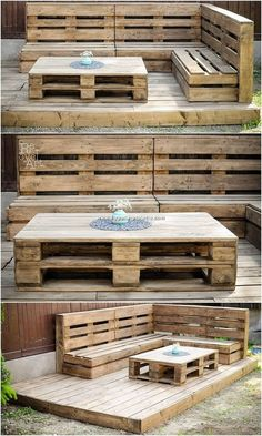 Garden couch with terrace is what we are next on our list of ideas! This is two in one services where the couch concept has been composed with the combination effect of the terrace beauty in it that make it helpful for you to act as the purposeful spacing Pallet Garden Furniture, Pallets Garden, Wood Pallets, Diy Furniture, Backyard Pallet Ideas, Making Pallet Furniture, Recycled Pallets, Patio Ideas With Pallets, Deck From Pallets