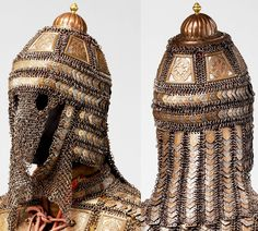 Indian (Sind) armor, late 18th to early 19th c, detail view (helmet), steel, brass, Met Museum, Bequest of George C. Stone, 1935, constructed of mail and steel plates decorated with embossed brass plaques, thought to come from the northeast Indian kingdom of Sind, now a province in southern Pakistan. The region was ruled by Mirs of the Talpur family from 1783 until 1843, when it was taken over by the British. Very few of these complete Sind armors survive, and this is one of the best…