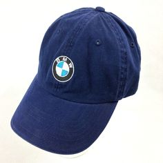 9869349806816 BMW Lifestyle Blue Embroidered Logo Adjustable Ball Cap Hat Lid