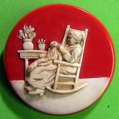 Carved Bakelite Button or Pin Lady in Rocking Chair Sewing on Quilt Brad Elfrink