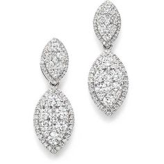 Bloomingdale's Diamond Double Marquise Earrings in 14K White Gold,... (5335 PAB) ❤ liked on Polyvore featuring jewelry, earrings, pave diamond earrings, diamond drop earrings, white gold diamond jewelry, diamond jewellery and 14k earrings