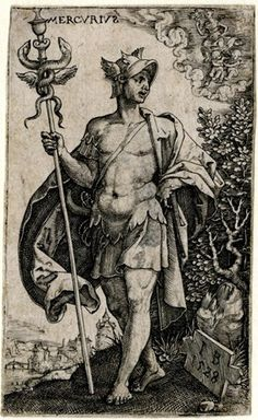 Turned slightly to left, the head turned to right; holding the caduceus in his right hand; Virgo and Gemini in clouds at upper right; from a series of seven engravings of the planetary gods as whole-length figures standing in landscapes with symbols of their respective signs of the Zodiac. 1528 Engraving